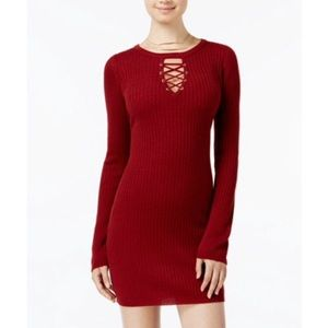 Planet Gold Keyhole Lace Up Sweater Dress Merlot